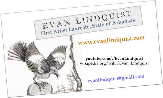 Evan Lindquist, card with mocking bird and email address