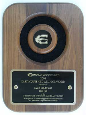 Emporia State University Distinguished Alumni Award presented to Evan Lindquist artist-printmaker, 2004