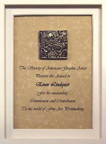 Lifetime Achievement Award, Society of American Graphic Artists, awarded to Evan Lindquist, 2010